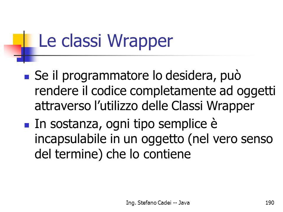Ing. Stefano Cadei -- Java190 Le classi Wrapper Se il programmatore lo desidera, può rendere il codice completamente ad oggetti attraverso lutilizzo d