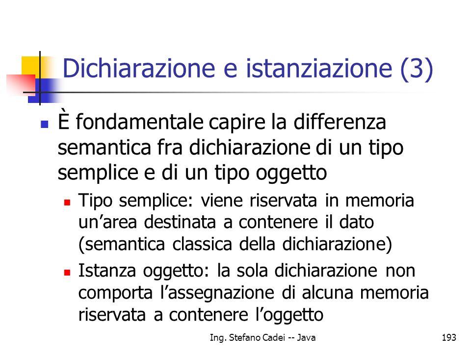 Ing. Stefano Cadei -- Java193 Dichiarazione e istanziazione (3) È fondamentale capire la differenza semantica fra dichiarazione di un tipo semplice e