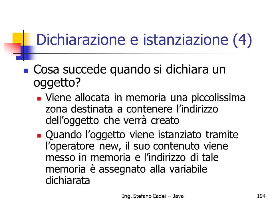 Ing. Stefano Cadei -- Java194 Dichiarazione e istanziazione (4) Cosa succede quando si dichiara un oggetto? Viene allocata in memoria una piccolissima