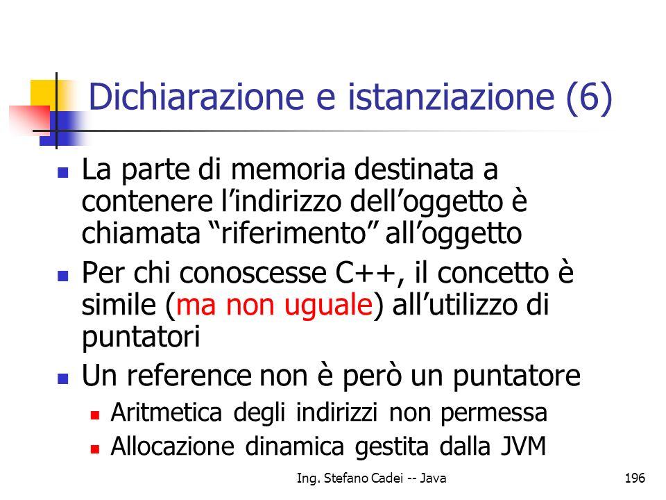 Ing. Stefano Cadei -- Java196 Dichiarazione e istanziazione (6) La parte di memoria destinata a contenere lindirizzo delloggetto è chiamata riferiment