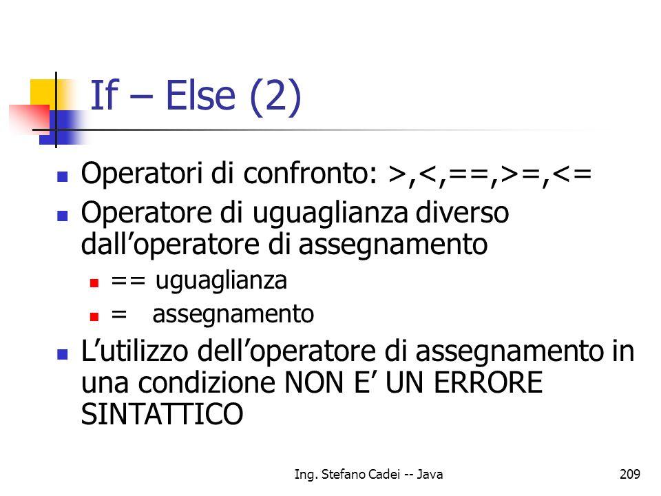 Ing. Stefano Cadei -- Java209 If – Else (2) Operatori di confronto: >, =,<= Operatore di uguaglianza diverso dalloperatore di assegnamento == uguaglia