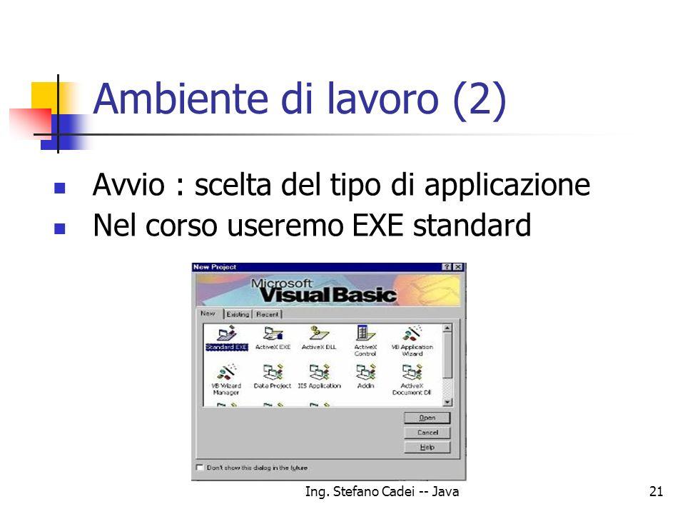 Ing. Stefano Cadei -- Java21 Ambiente di lavoro (2) Avvio : scelta del tipo di applicazione Nel corso useremo EXE standard