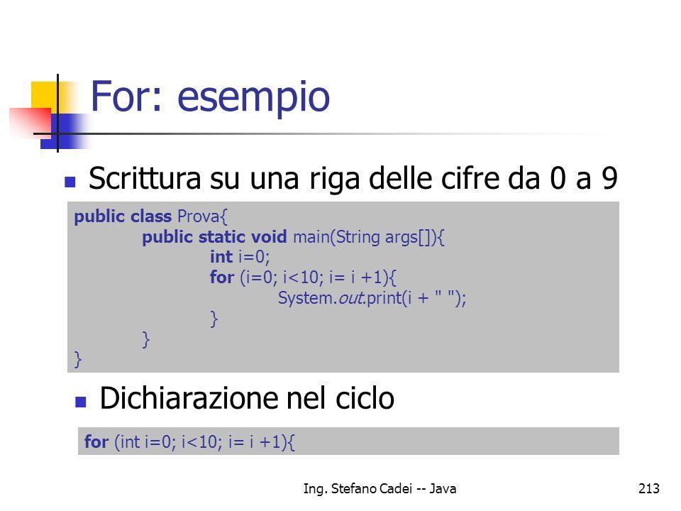 Ing. Stefano Cadei -- Java213 For: esempio Scrittura su una riga delle cifre da 0 a 9 public class Prova{ public static void main(String args[]){ int