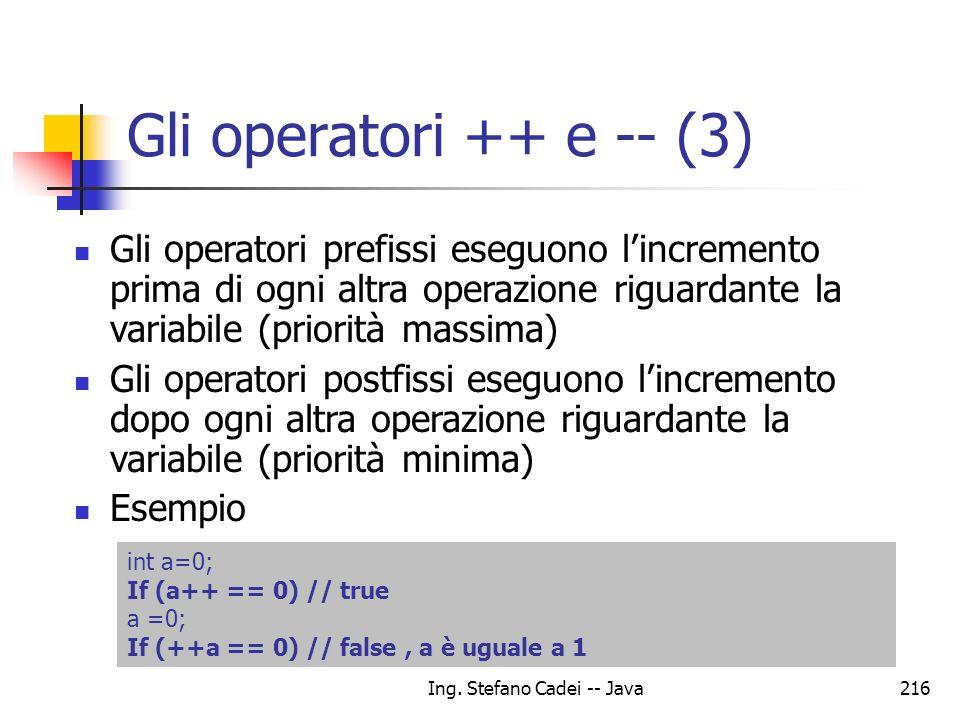Ing. Stefano Cadei -- Java216 Gli operatori ++ e -- (3) Gli operatori prefissi eseguono lincremento prima di ogni altra operazione riguardante la vari