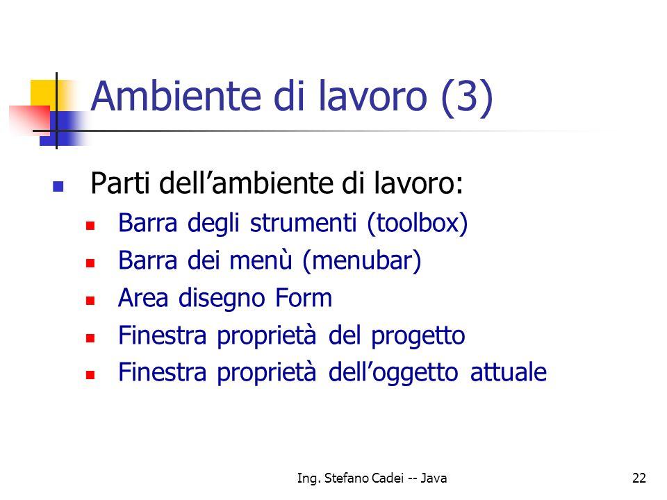 Ing. Stefano Cadei -- Java22 Ambiente di lavoro (3) Parti dellambiente di lavoro: Barra degli strumenti (toolbox) Barra dei menù (menubar) Area disegn