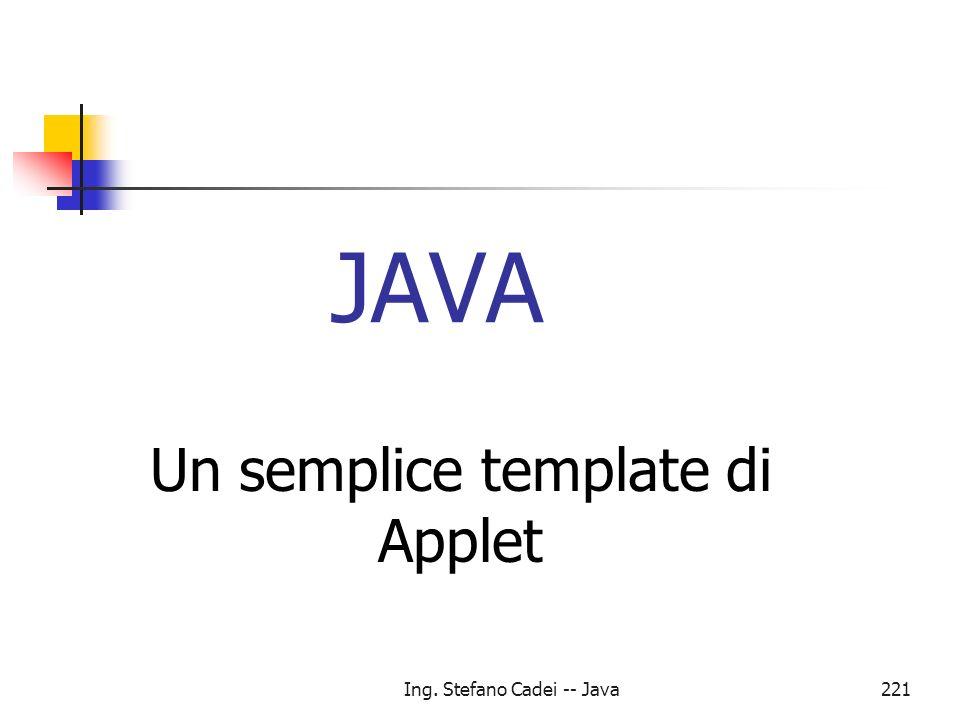 Ing. Stefano Cadei -- Java221 JAVA Un semplice template di Applet