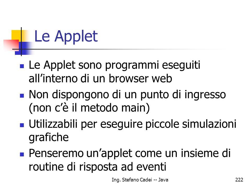 Ing. Stefano Cadei -- Java222 Le Applet Le Applet sono programmi eseguiti allinterno di un browser web Non dispongono di un punto di ingresso (non cè