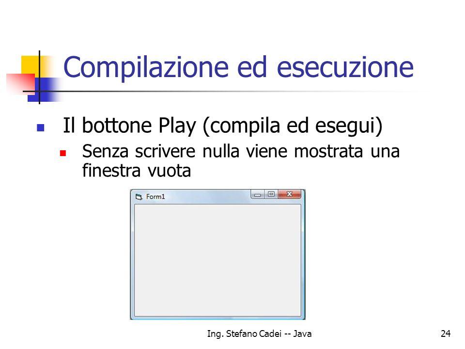Ing. Stefano Cadei -- Java24 Compilazione ed esecuzione Il bottone Play (compila ed esegui) Senza scrivere nulla viene mostrata una finestra vuota