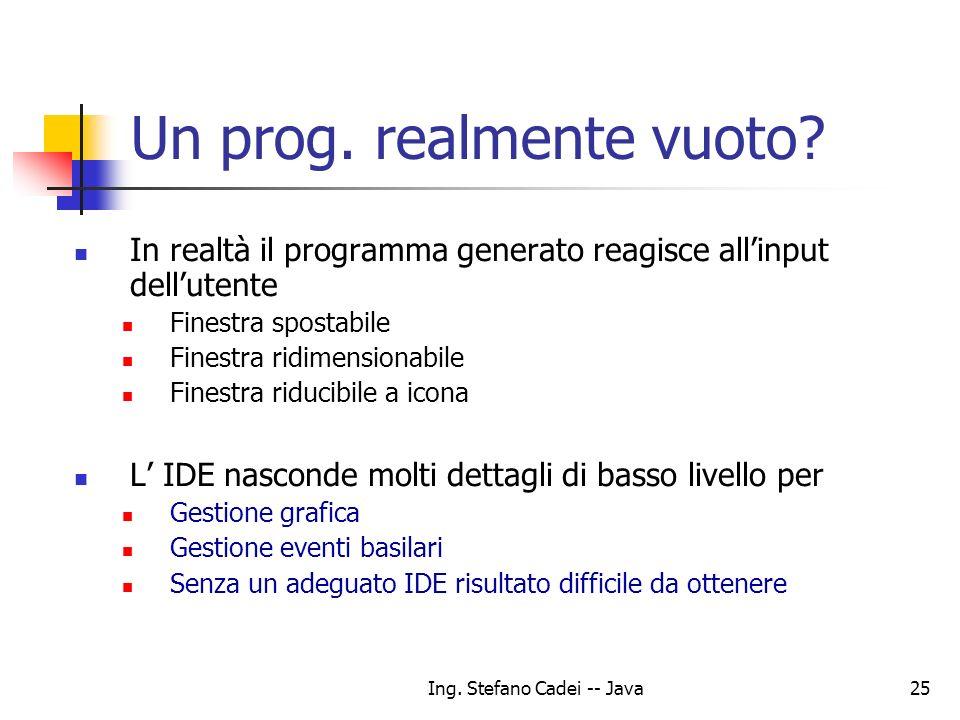 Ing. Stefano Cadei -- Java25 Un prog. realmente vuoto? In realtà il programma generato reagisce allinput dellutente Finestra spostabile Finestra ridim