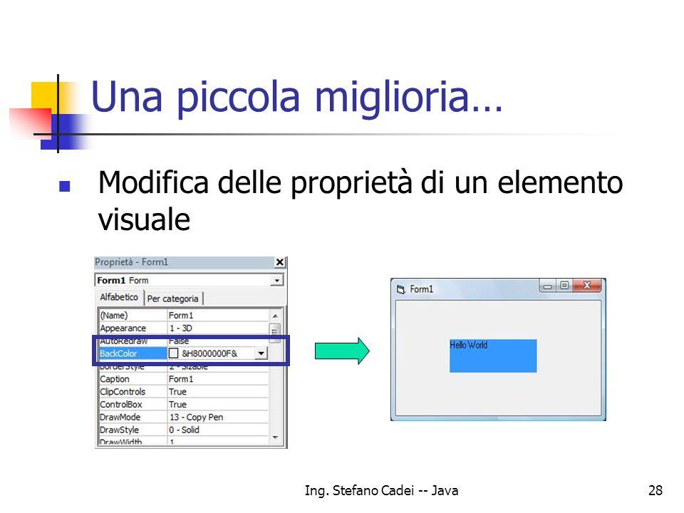 Ing. Stefano Cadei -- Java28 Una piccola miglioria… Modifica delle proprietà di un elemento visuale