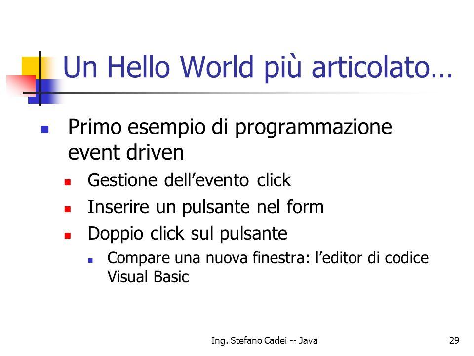 Ing. Stefano Cadei -- Java29 Un Hello World più articolato… Primo esempio di programmazione event driven Gestione dellevento click Inserire un pulsant