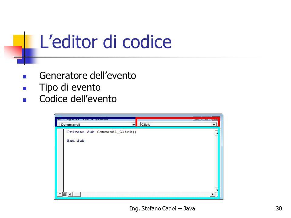 Ing. Stefano Cadei -- Java30 Leditor di codice Generatore dellevento Tipo di evento Codice dellevento