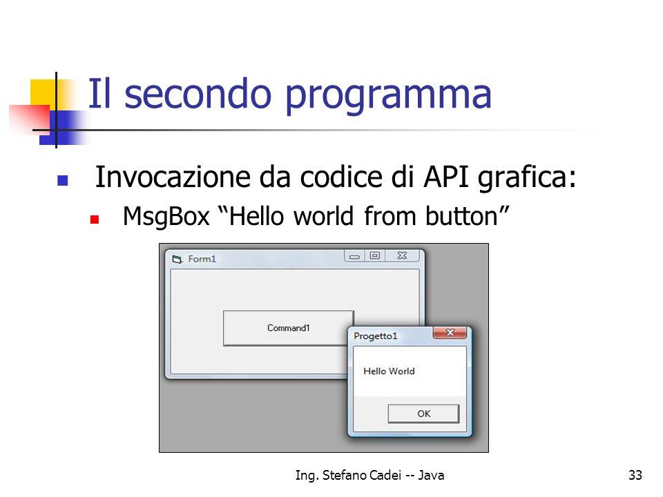 Ing. Stefano Cadei -- Java33 Il secondo programma Invocazione da codice di API grafica: MsgBox Hello world from button