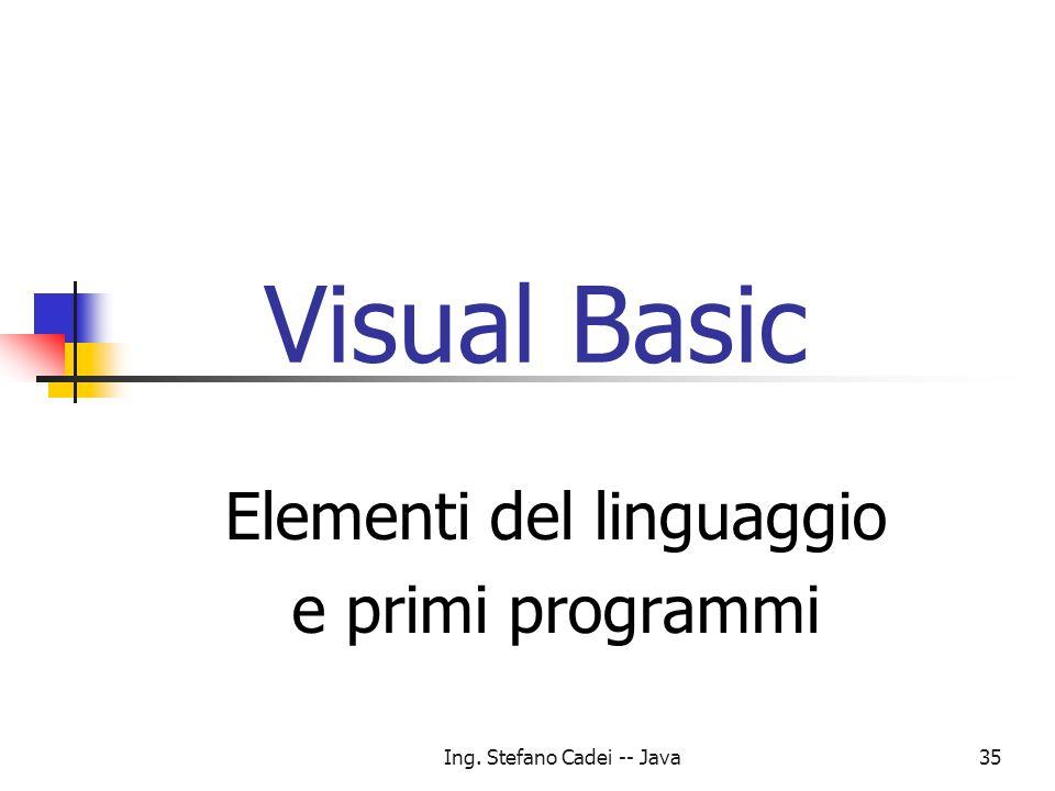 Ing. Stefano Cadei -- Java35 Visual Basic Elementi del linguaggio e primi programmi