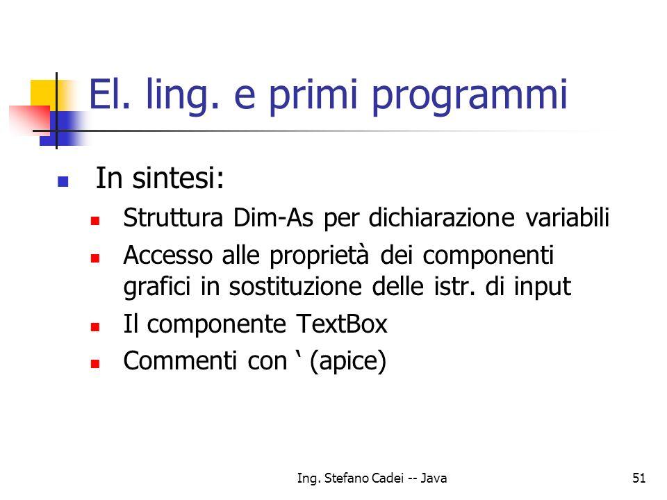 Ing. Stefano Cadei -- Java51 El. ling. e primi programmi In sintesi: Struttura Dim-As per dichiarazione variabili Accesso alle proprietà dei component