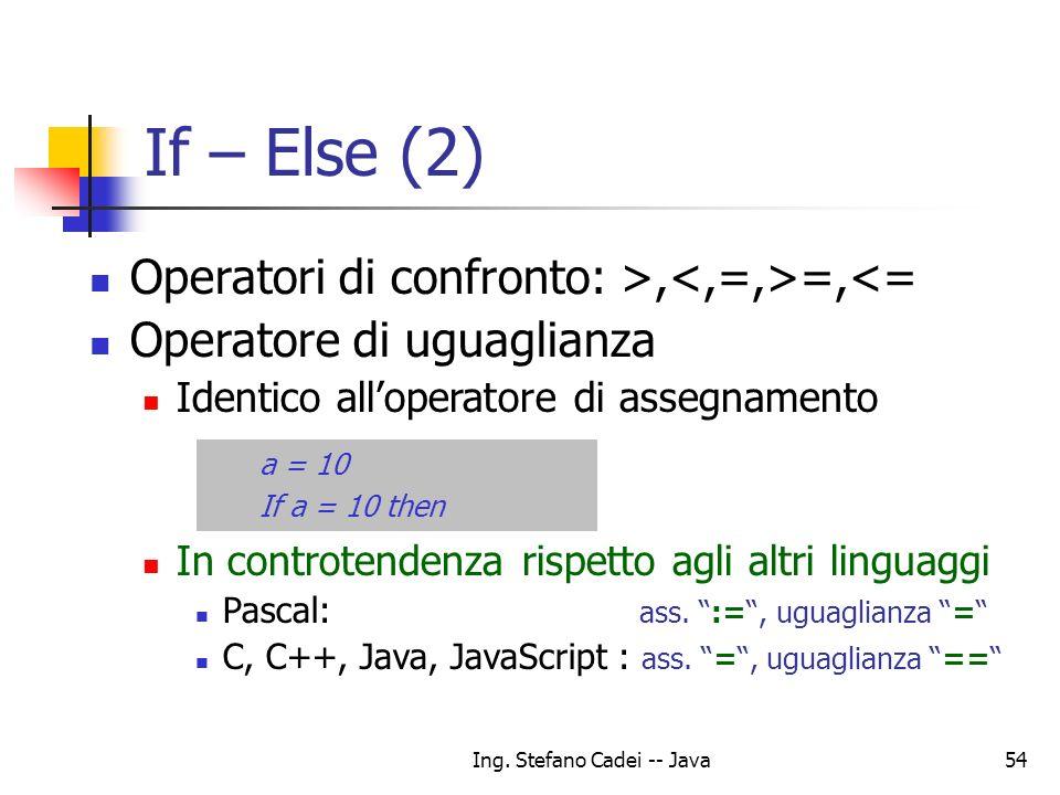 Ing. Stefano Cadei -- Java54 If – Else (2) Operatori di confronto: >, =,<= Operatore di uguaglianza Identico alloperatore di assegnamento In controten