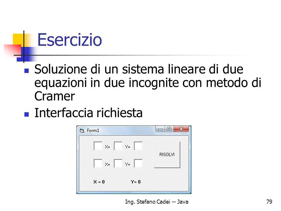 Ing. Stefano Cadei -- Java79 Esercizio Soluzione di un sistema lineare di due equazioni in due incognite con metodo di Cramer Interfaccia richiesta