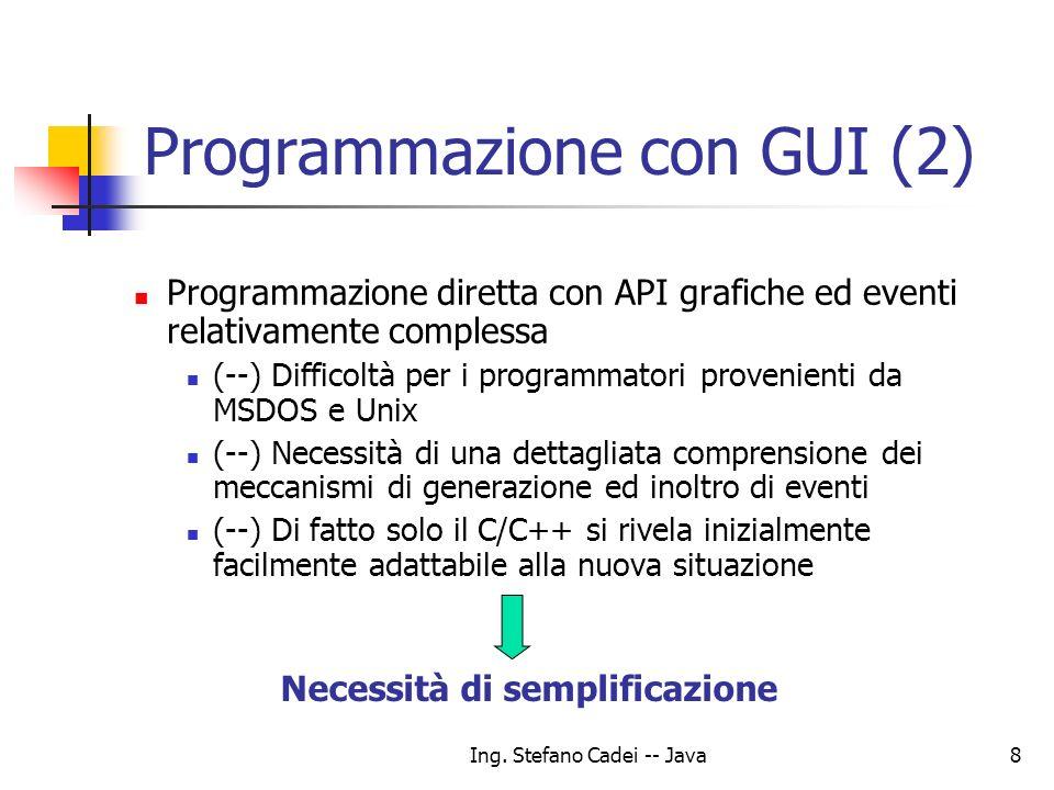 Ing. Stefano Cadei -- Java8 Programmazione con GUI (2) Programmazione diretta con API grafiche ed eventi relativamente complessa (--) Difficoltà per i