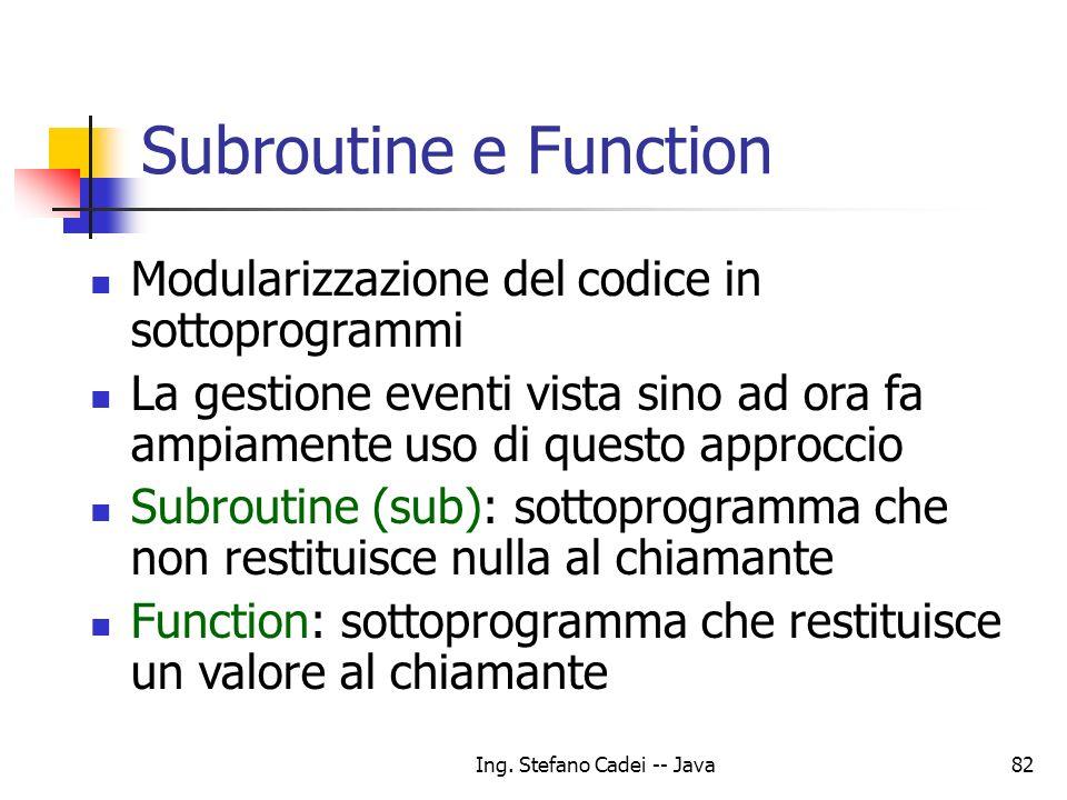 Ing. Stefano Cadei -- Java82 Subroutine e Function Modularizzazione del codice in sottoprogrammi La gestione eventi vista sino ad ora fa ampiamente us