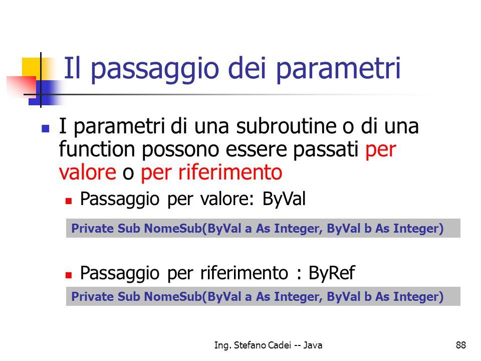 Ing. Stefano Cadei -- Java88 Il passaggio dei parametri I parametri di una subroutine o di una function possono essere passati per valore o per riferi