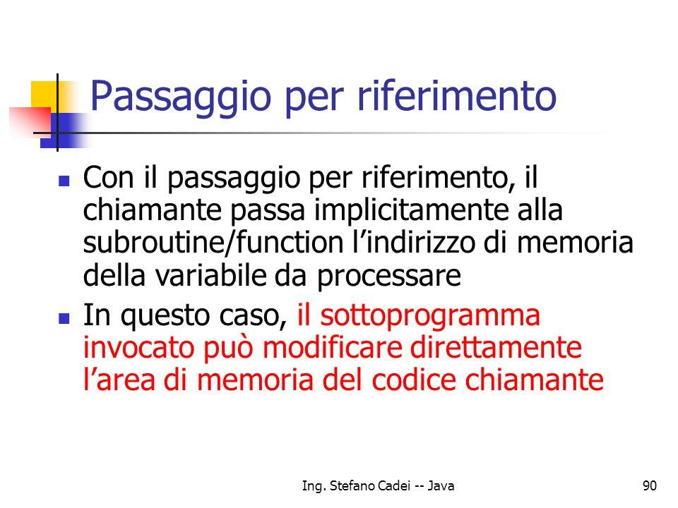 Ing. Stefano Cadei -- Java90 Passaggio per riferimento Con il passaggio per riferimento, il chiamante passa implicitamente alla subroutine/function li