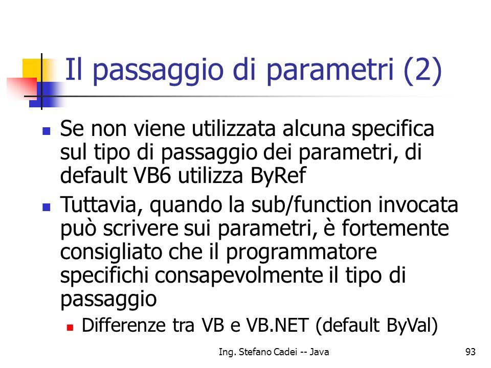Ing. Stefano Cadei -- Java93 Il passaggio di parametri (2) Se non viene utilizzata alcuna specifica sul tipo di passaggio dei parametri, di default VB