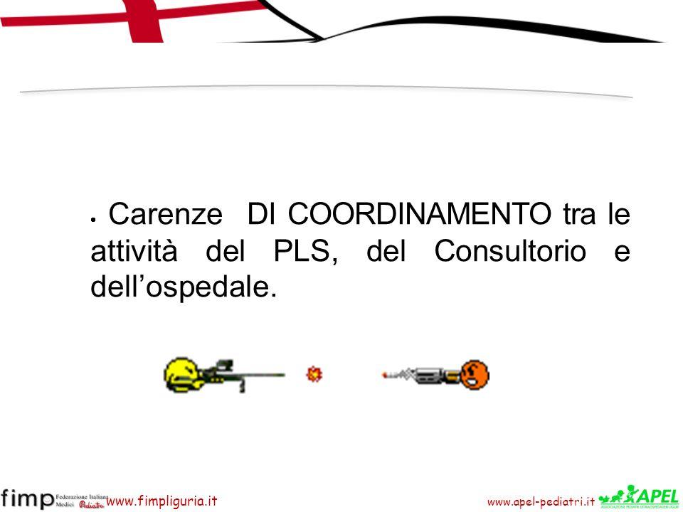 www.apel-pediatri.it www.fimpliguria.it Carenze DI COORDINAMENTO tra le attività del PLS, del Consultorio e dellospedale.