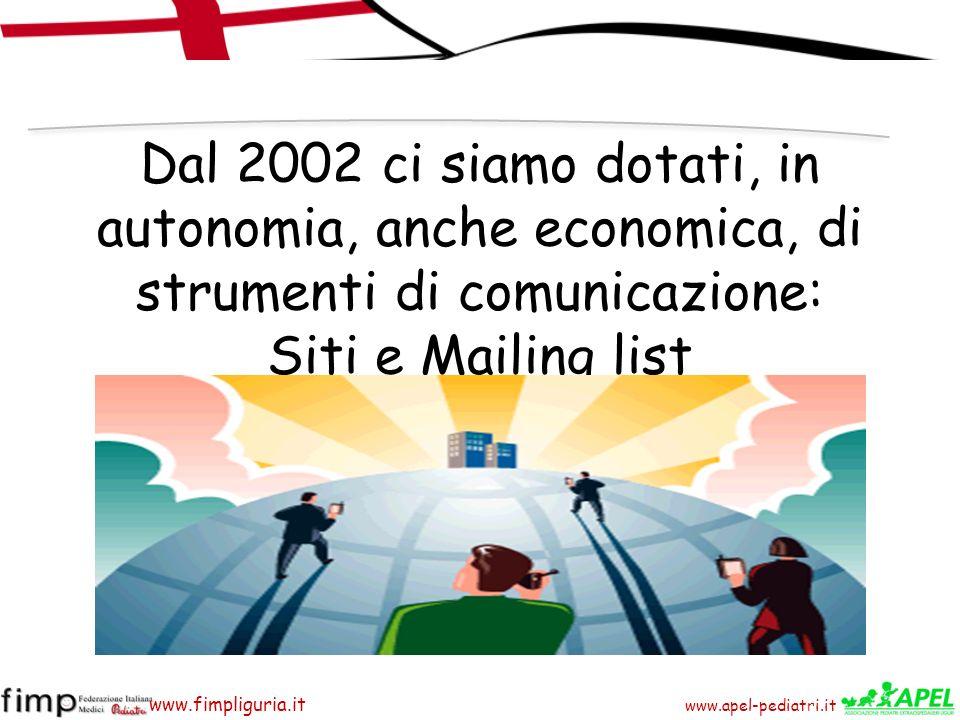 www.apel-pediatri.it www.fimpliguria.it Dal 2002 ci siamo dotati, in autonomia, anche economica, di strumenti di comunicazione: Siti e Mailing list