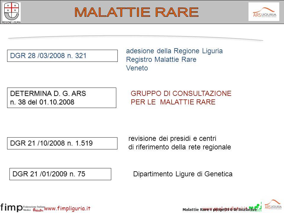 www.apel-pediatri.it www.fimpliguria.it DGR 28 /03/2008 n. 321 DGR 21 /10/2008 n. 1.519 adesione della Regione Liguria Registro Malattie Rare Veneto D