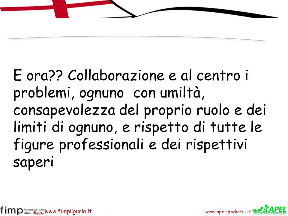 www.apel-pediatri.it www.fimpliguria.it E ora?? Collaborazione e al centro i problemi, ognuno con umiltà, consapevolezza del proprio ruolo e dei limit