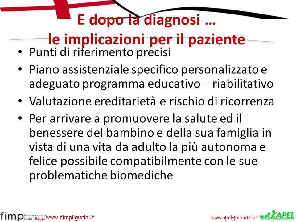 www.apel-pediatri.it www.fimpliguria.it E dopo la diagnosi … le implicazioni per il paziente Punti di riferimento precisi Piano assistenziale specific