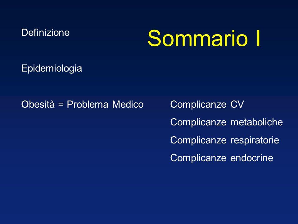 Definizione Epidemiologia Obesità = Problema MedicoComplicanze CV Complicanze metaboliche Complicanze respiratorie Complicanze endocrine Sommario I
