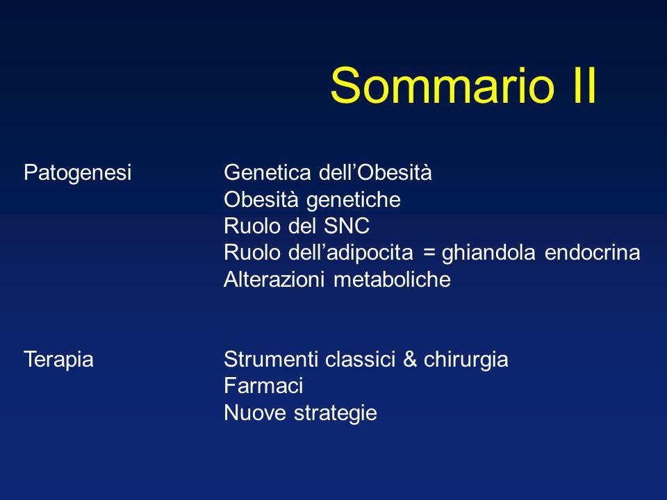 PatogenesiGenetica dellObesità Obesità genetiche Ruolo del SNC Ruolo delladipocita = ghiandola endocrina Alterazioni metaboliche TerapiaStrumenti clas