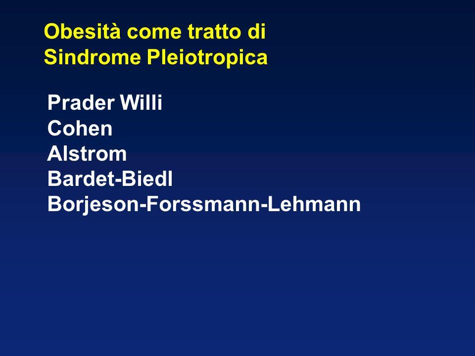 Obesità come tratto di Sindrome Pleiotropica Prader Willi Cohen Alstrom Bardet-Biedl Borjeson-Forssmann-Lehmann