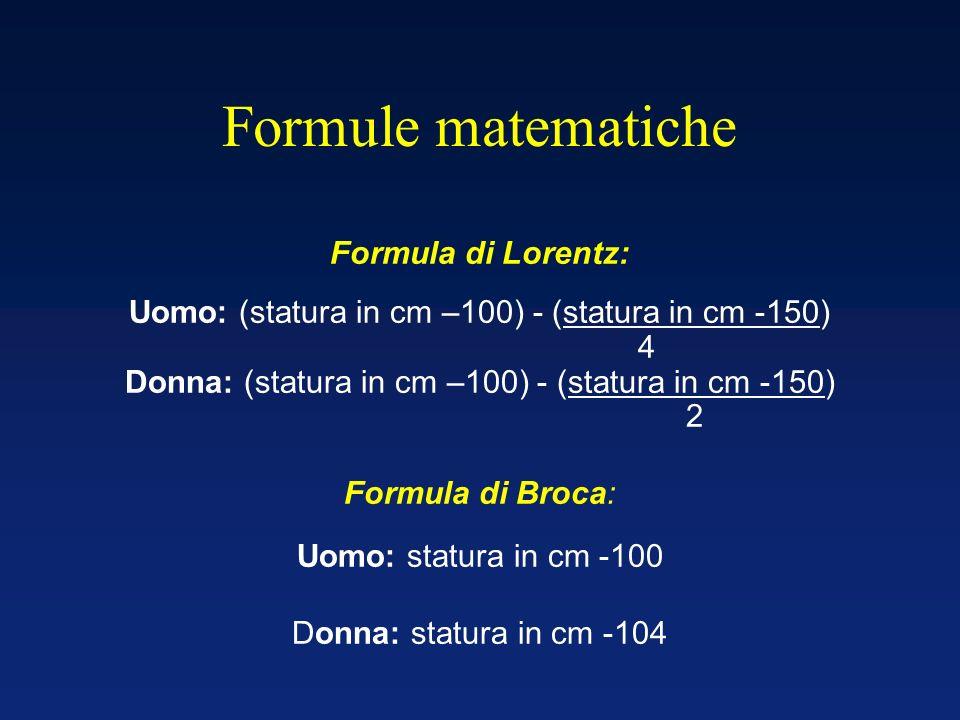 Formule matematiche Formula di Lorentz: Uomo: (statura in cm –100) - (statura in cm -150) 4 Donna: (statura in cm –100) - (statura in cm -150) 2 Formu
