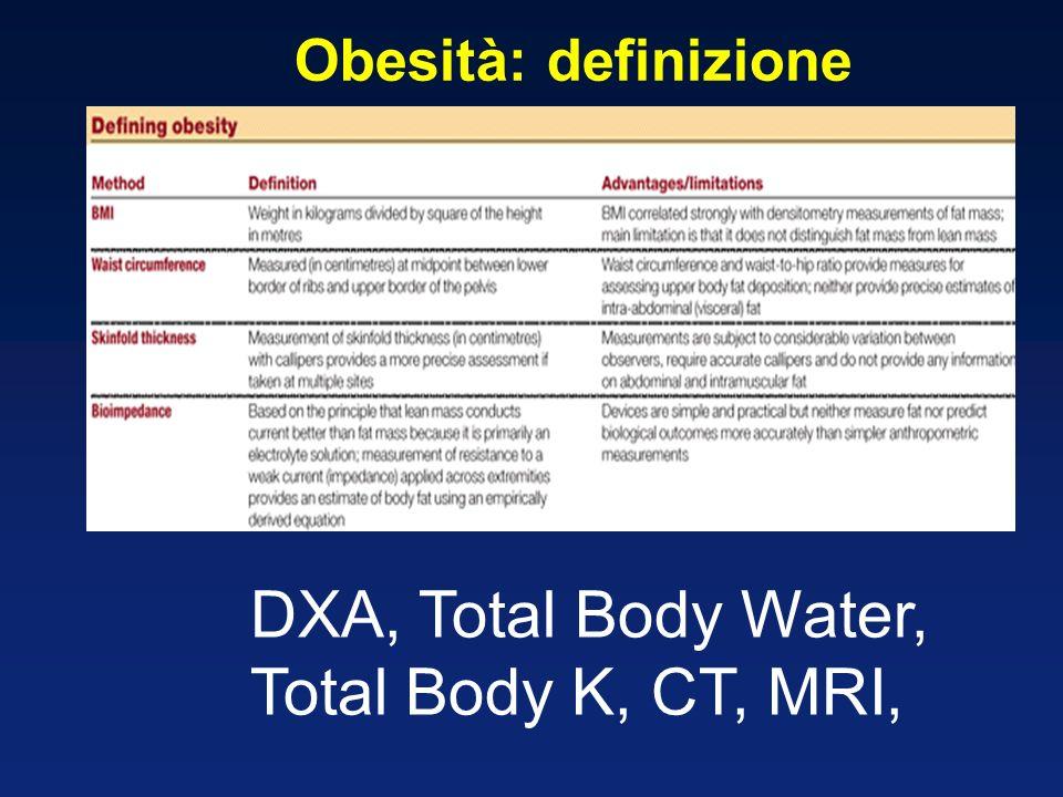 Obesità: definizione DXA, Total Body Water, Total Body K, CT, MRI,