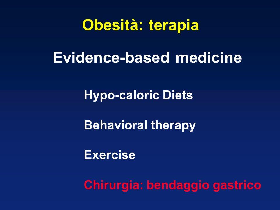 Hypo-caloric Diets Behavioral therapy Exercise Chirurgia: bendaggio gastrico Evidence-based medicine Obesità: terapia