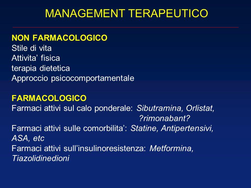 MANAGEMENT TERAPEUTICO NON FARMACOLOGICO Stile di vita Attivita fisica terapia dietetica Approccio psicocomportamentale FARMACOLOGICO Farmaci attivi s
