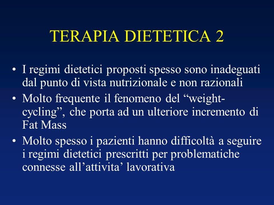 TERAPIA DIETETICA 2 I regimi dietetici proposti spesso sono inadeguati dal punto di vista nutrizionale e non razionali Molto frequente il fenomeno del