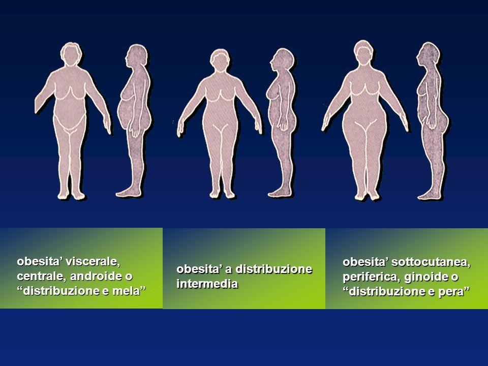 obesita sottocutanea, periferica, ginoide o distribuzione e pera obesita a distribuzione intermedia obesita viscerale, centrale, androide o distribuzi