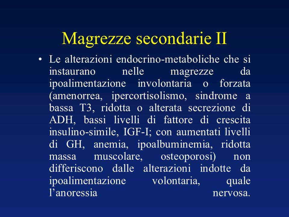 Magrezze secondarie II Le alterazioni endocrino-metaboliche che si instaurano nelle magrezze da ipoalimentazione involontaria o forzata (amenorrea, ip