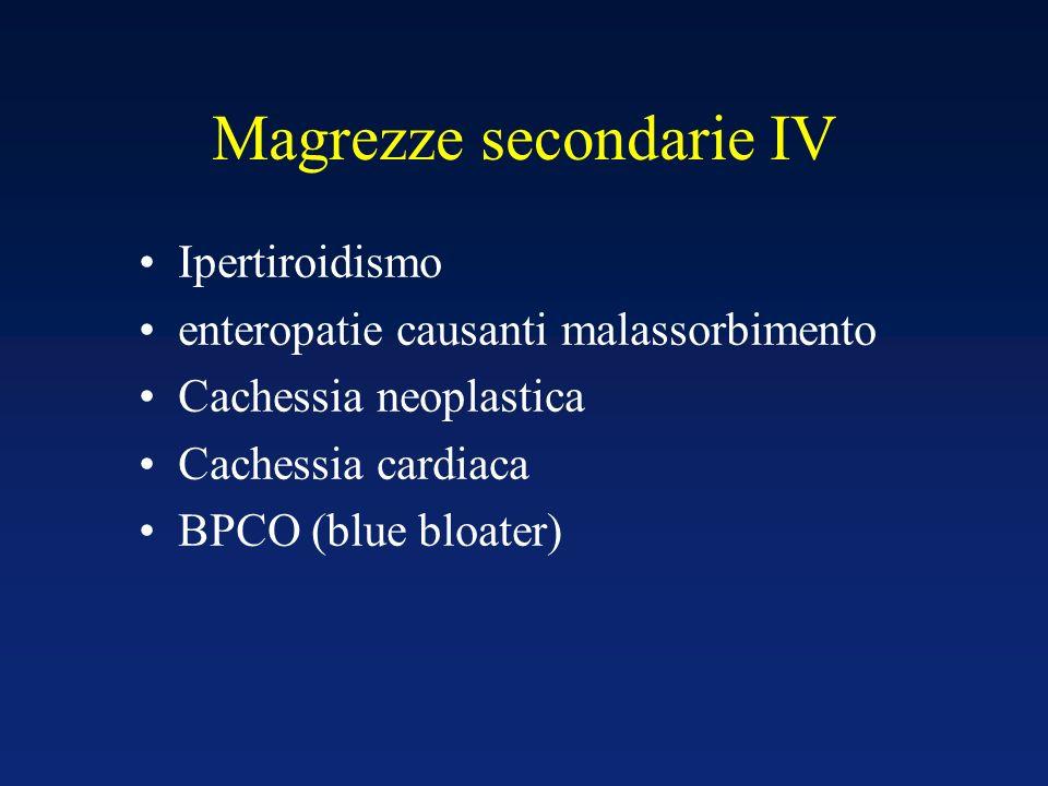 Magrezze secondarie IV Ipertiroidismo enteropatie causanti malassorbimento Cachessia neoplastica Cachessia cardiaca BPCO (blue bloater)