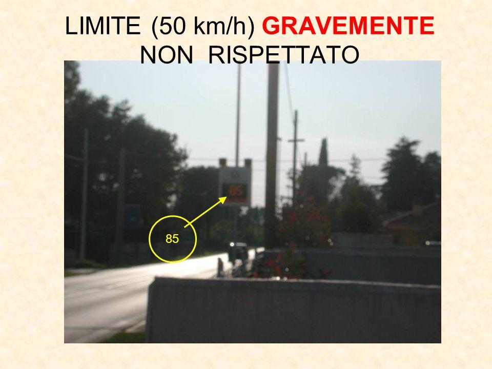 85 LIMITE (50 km/h) GRAVEMENTE NON RISPETTATO