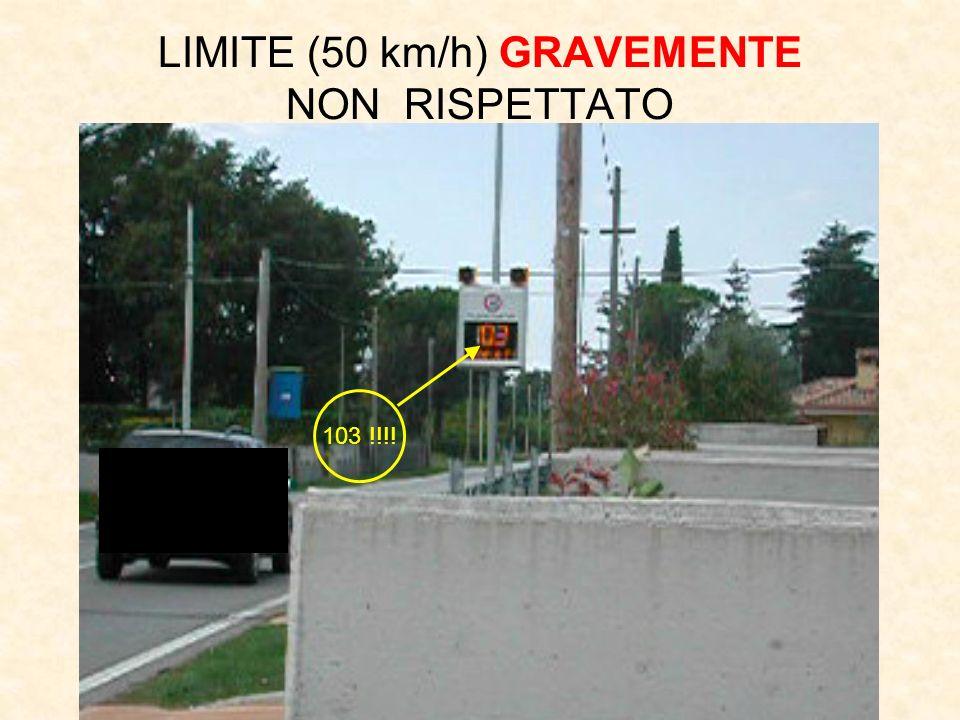 103 !!!! LIMITE (50 km/h) GRAVEMENTE NON RISPETTATO