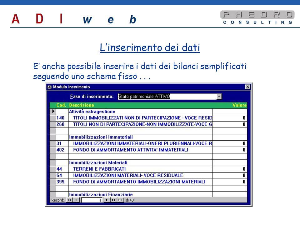 E anche possibile inserire i dati dei bilanci semplificati seguendo uno schema fisso...