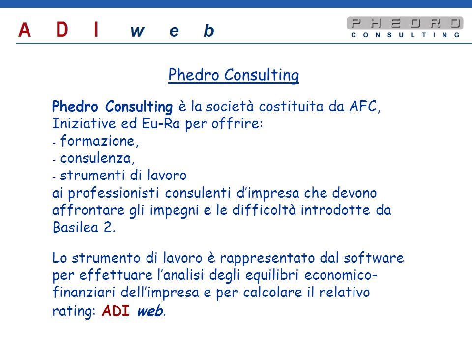 Phedro Consulting Phedro Consulting è la società costituita da AFC, Iniziative ed Eu-Ra per offrire: - - formazione, - - consulenza, - - strumenti di lavoro ai professionisti consulenti dimpresa che devono affrontare gli impegni e le difficoltà introdotte da Basilea 2.