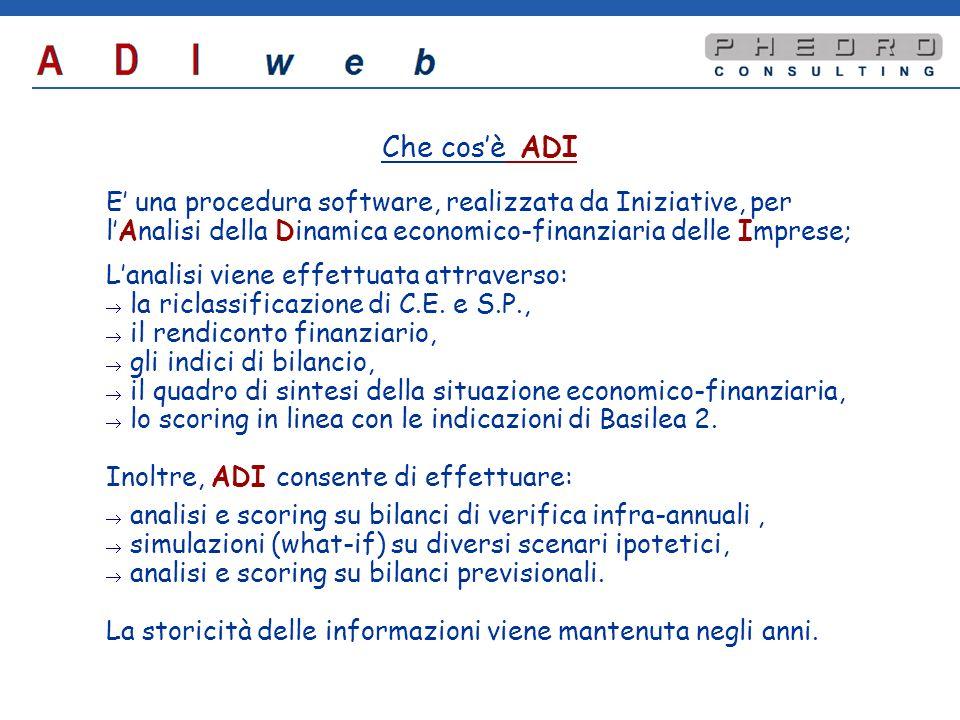 Le fasi del progetto Entro 31 gennaio: componente local di ADI web (da installare sul PC dellutente) per linserimento bilanci; invio dei dati di bilancio tramite e-mail al server; ricevimento tramite e-mail della relazione entro 5 gg lavorativi.