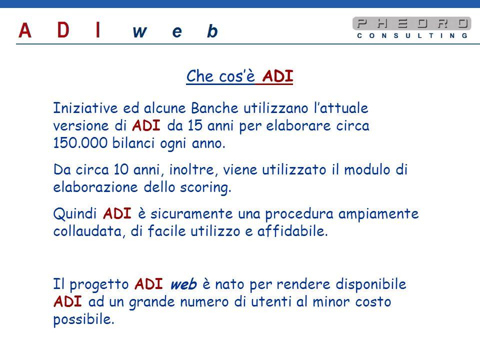 Il progetto ADI web Il progetto ADI web prevede la trasposizione della versione attuale di ADI in una versione da usare via internet.