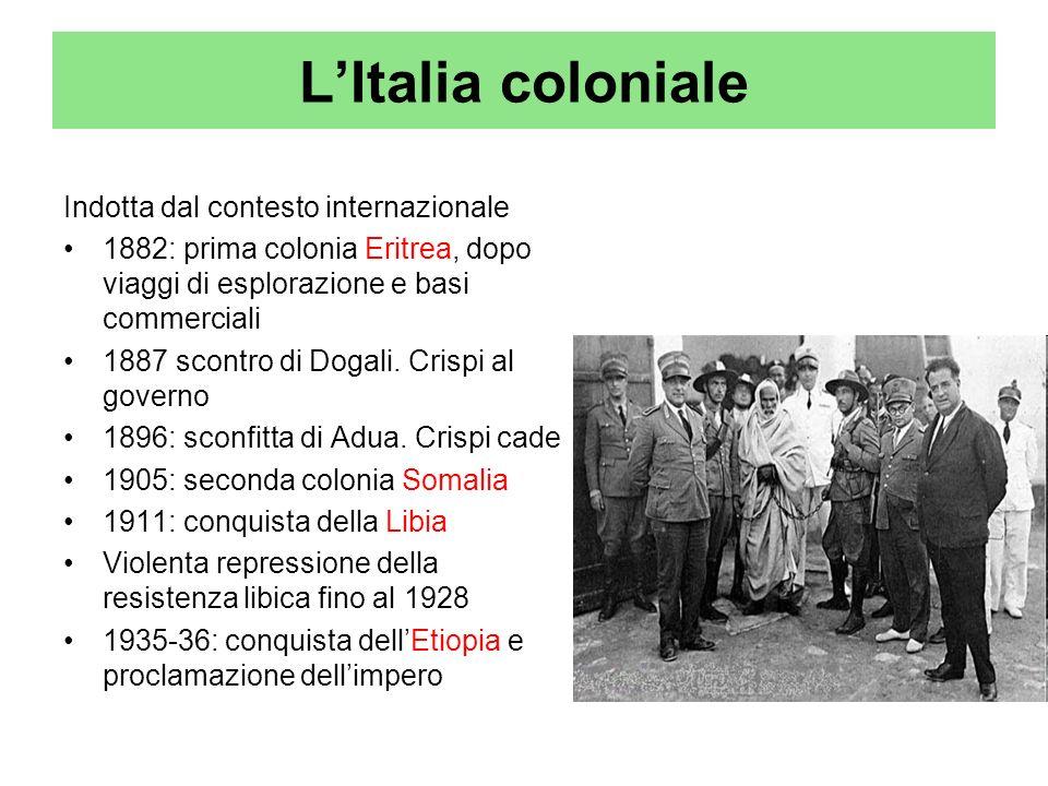 LItalia coloniale Indotta dal contesto internazionale 1882: prima colonia Eritrea, dopo viaggi di esplorazione e basi commerciali 1887 scontro di Doga