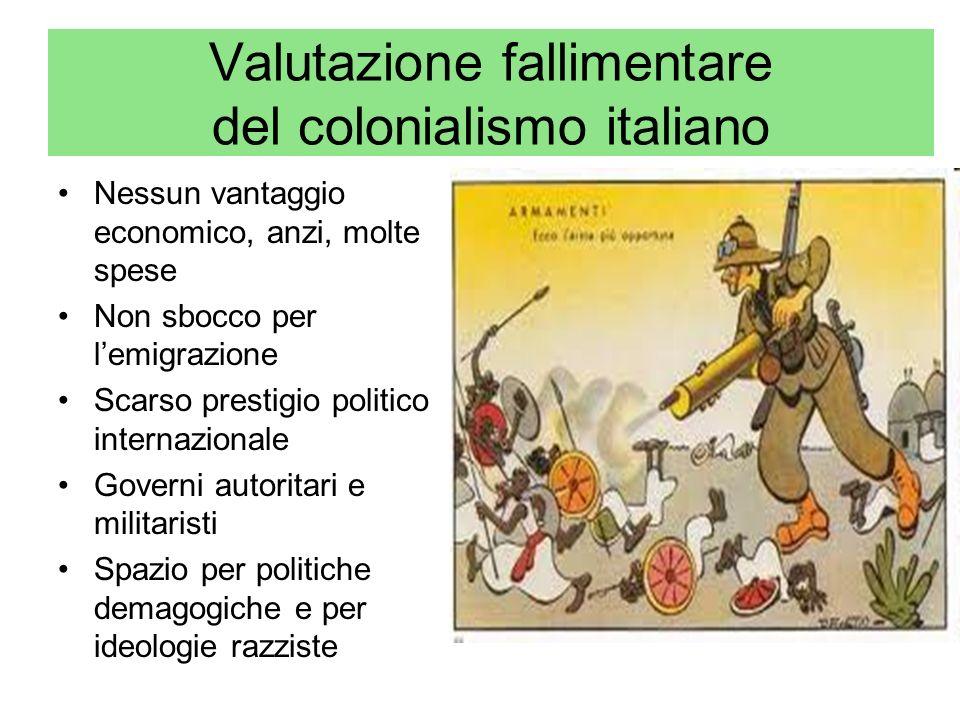 Valutazione fallimentare del colonialismo italiano Nessun vantaggio economico, anzi, molte spese Non sbocco per lemigrazione Scarso prestigio politico